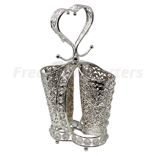 Spoon Holder - Heart Silver Plated Two Tube Holder
