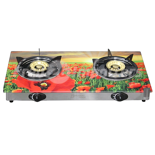 Glass Top Double Burner Gas Stove (Red Flowers)