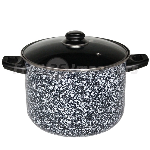 8Qt Stock Pot w/ Glass Lid Granite