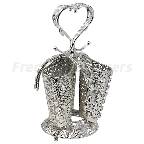 Spoon Holder - Heart Silver Plated Three Tube Holder