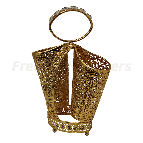 Spoon Holder - Round Gold Plated Two Tube Holder
