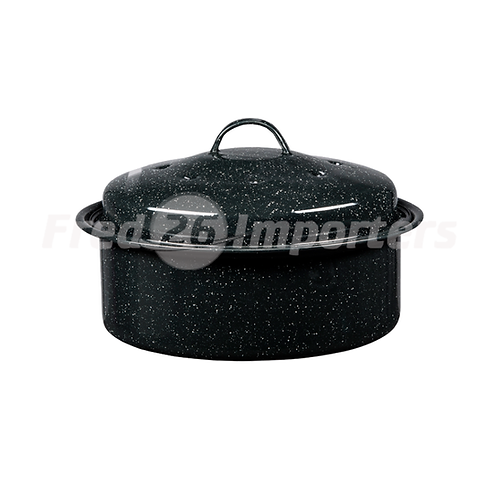 Granite Ware 3lb Round Covered Roaster Black