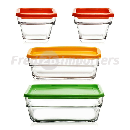 Libbey Stack It Nestable Glass Storage Containers w/ Lids, 8Pc. Set