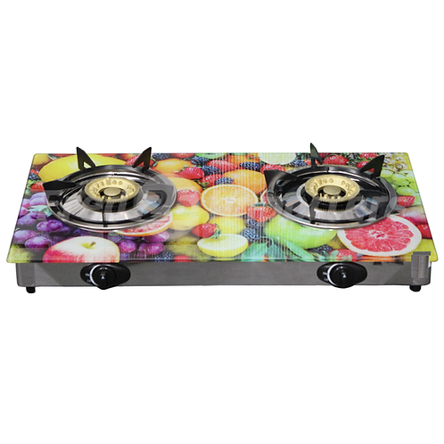 Glass Top Double Burner Gas Stove (Fruits)