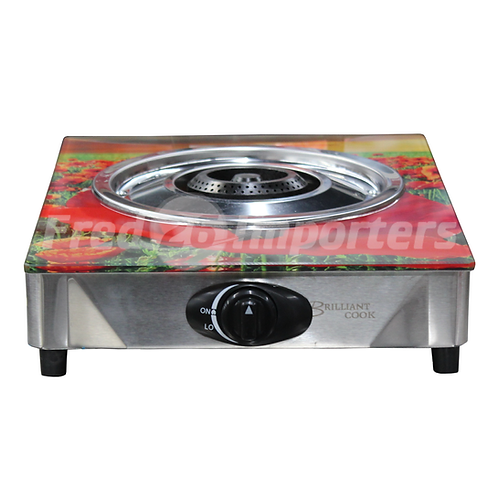 Glass Top Single Burner Gas Stove (Red Flowers)