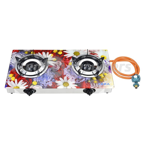Tempered Glass Double Burner (Assorted Flowers)