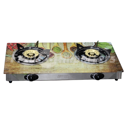 Glass Top Double Burner Gas Stove (Wooden Spoons)
