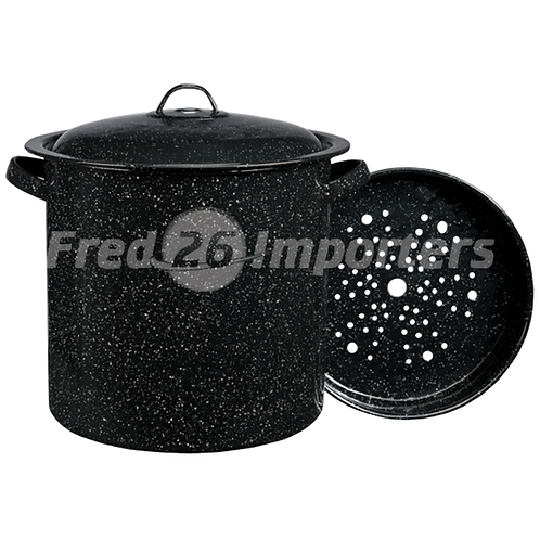 Granite Ware 15.5Qt Tamale Pot w/ Insert Black