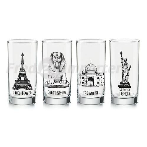 Libbey 16.3oz Travel Icons Cooler, Set of 4