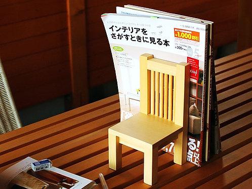 原木小椅子書擋