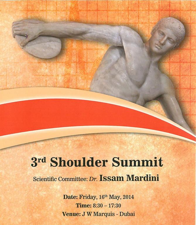 May 2014 3rd Shoulder Summit in Dubai – PRP in Shoulder, Tendinopathy, Rotator Cuff Tear, Shoulder A