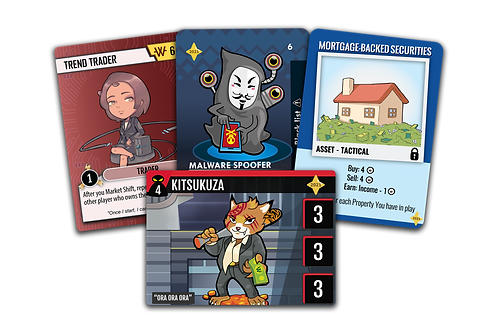 2021 Finance themed games promotional cards