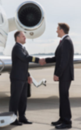executive manager leaving corporate jet