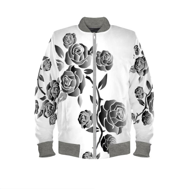 black and white rose on women's bomber jacket