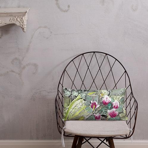 Cyclamen Water-colour by B'lu | Premium Pillow
