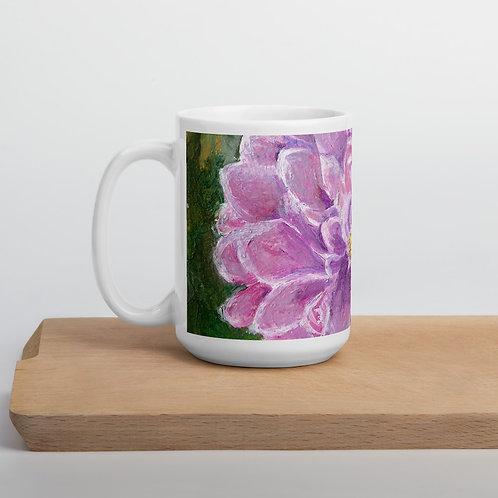 Dahlia Acrylic painting by B'lu printed on white glossy Mug