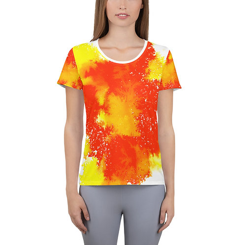 'ORANGE SUN' ink painting by Ashvin on All-Over Print Women's Athletic T-shirt
