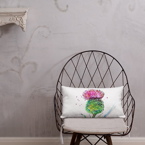 Thistle Water-colour painting by Bl'u | Premium Pillow