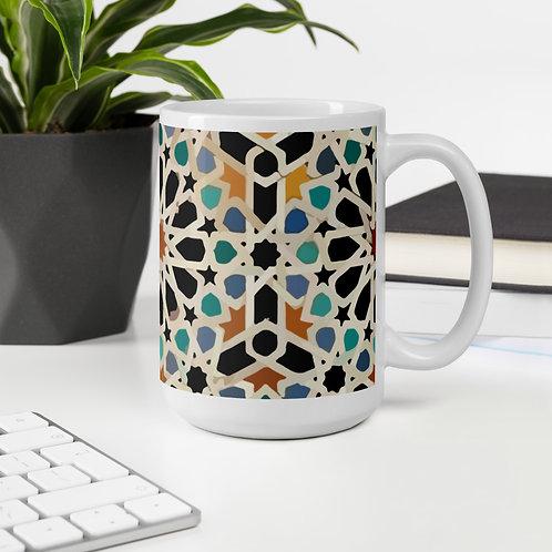 Morocco Mosaic design by Rageshree printed on White glossy Mug