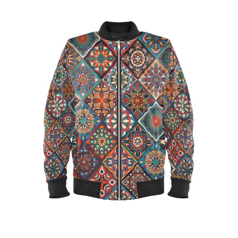 ornate mandalas on women's bomber jacket