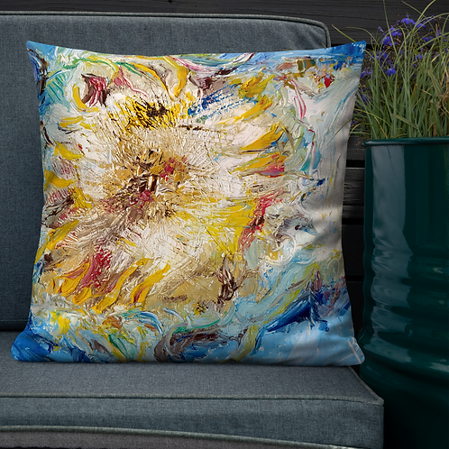 Sunflowers Oil Painting by B'lu | Premium Pillow Case