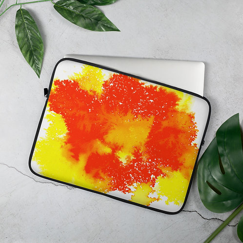 Yellow Ink Splatter Laptop Sleeve