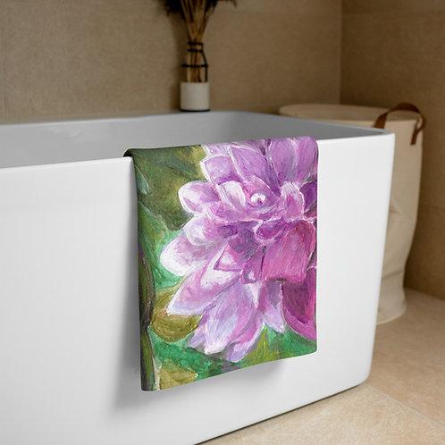 Dahlia Acrylic painting by B'lu Printed on a Towel