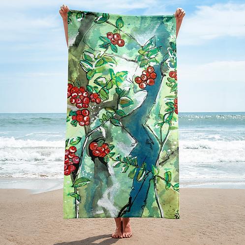 Red Berries Gouache painting by B'lu on Towel