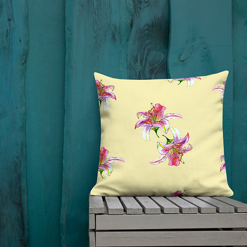 Pink Lily Water-colour Painting by B'lu | Premium Pillow