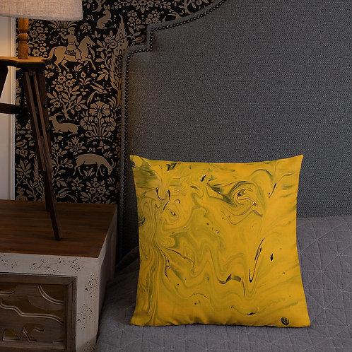 Turmeric Acrylic painting by Ashvin | Premium Pillow