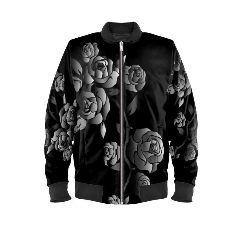 Black and white roses on velvet Women's bomber jacket