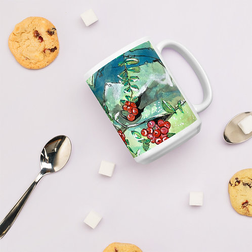 Red Berries Gouache painting printed on Glossy Mug