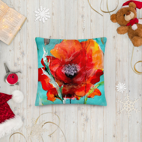 Red Poppy Mixed Media by Ashvin and B'lu | Premium Pillow