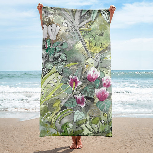 Cyclamen Floral Towel