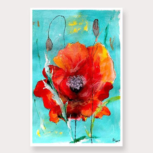 Red Poppy Mixed Media by Ashvin & B'lu