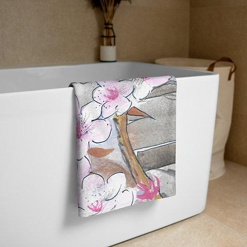 Sakura watercolor painting Towel