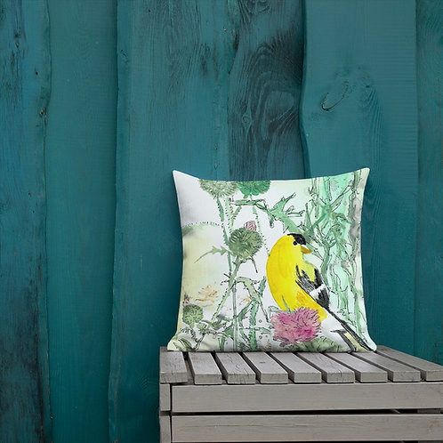 Goldfinch Water-colour by B'lu | Premium Pillow