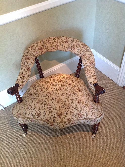 Antique Victorian (c 1840) Walnut Tub Chair