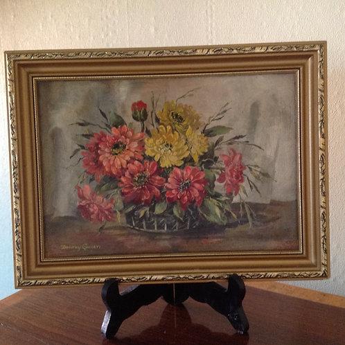 """D.Garrett (1908-2000) """"Still Life Summer Flowers"""""""