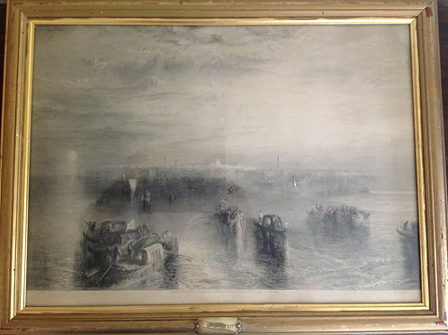 19th C JMW Turner, RA Etching Venice Boating Scene