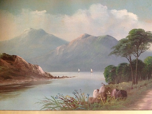 19th C Scottish Highlands Loch Scene