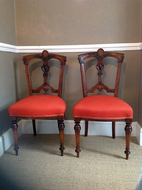 Victorian Pair of Mahogany and Walnut Hall Chairs