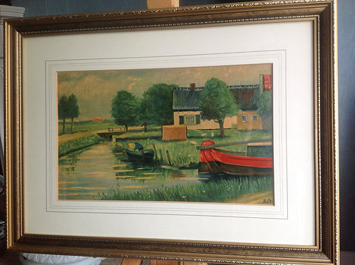 Oil on Board study of a Farm House by a Canal