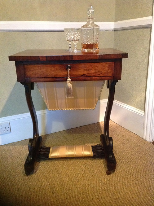 Antique Regency (c 1820) Rosewood Sewing Table