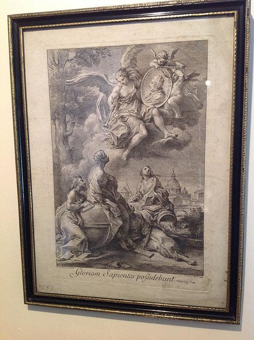 """18th C Engraving """"Gloriam Sapientes Possiddebunt"""""""