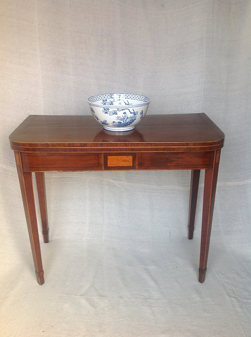 George III ( c 1790) Inlaid Mahogany D Shape Table