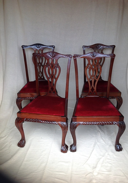 Set of 4 Chippendale Style Dining/Hall Chairs