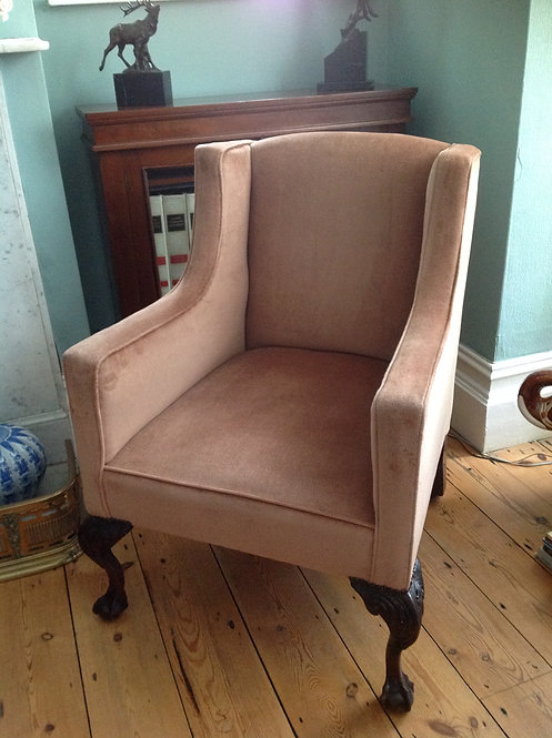 Victorian (c 1860) Salon Armchair with Carved Feet