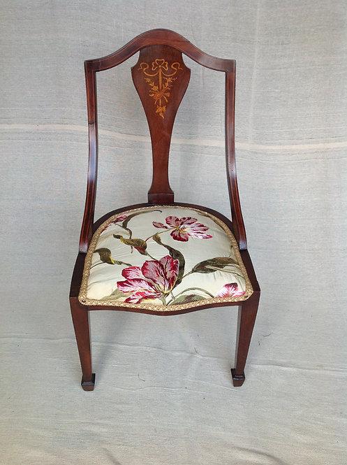 Victorian Inlaid Nursing Chair Silk Embroidery