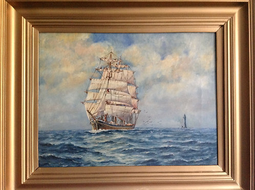 """"""" Making a Landfall"""" Oil on Canvas by G. W. Fuller"""